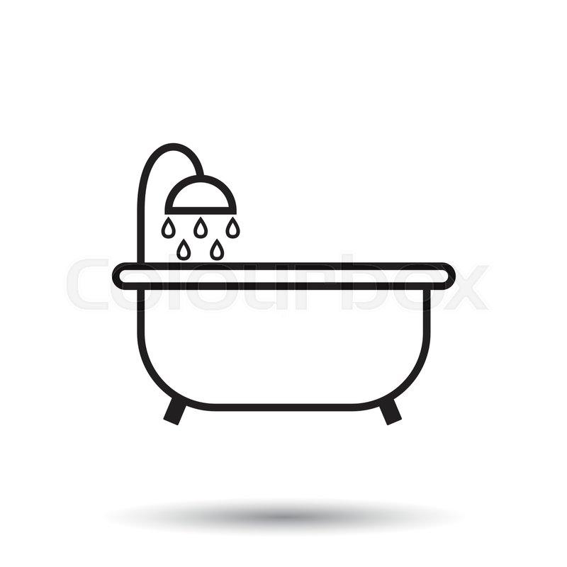 Bathroom Clip Art Black And White: Bathtub Vector Icon. Bathroom Shower ...