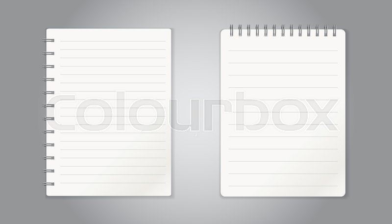 Realistic template notepad with spiral blank cover design school realistic template notepad with spiral blank cover design school business diary office stationery notebook on gray background stock vector colourbox accmission Choice Image