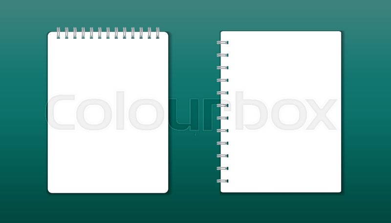 Realistic template notepad with spiral blank cover design school realistic template notepad with spiral blank cover design school business diary office stationery notebook on green background stock vector colourbox cheaphphosting Image collections