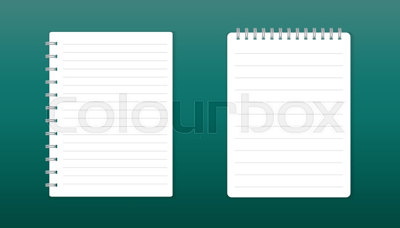 Realistic Template Notepad With Spiral Blank Cover Design School Business Diary Office Stationery Notebook On Green Background Vector