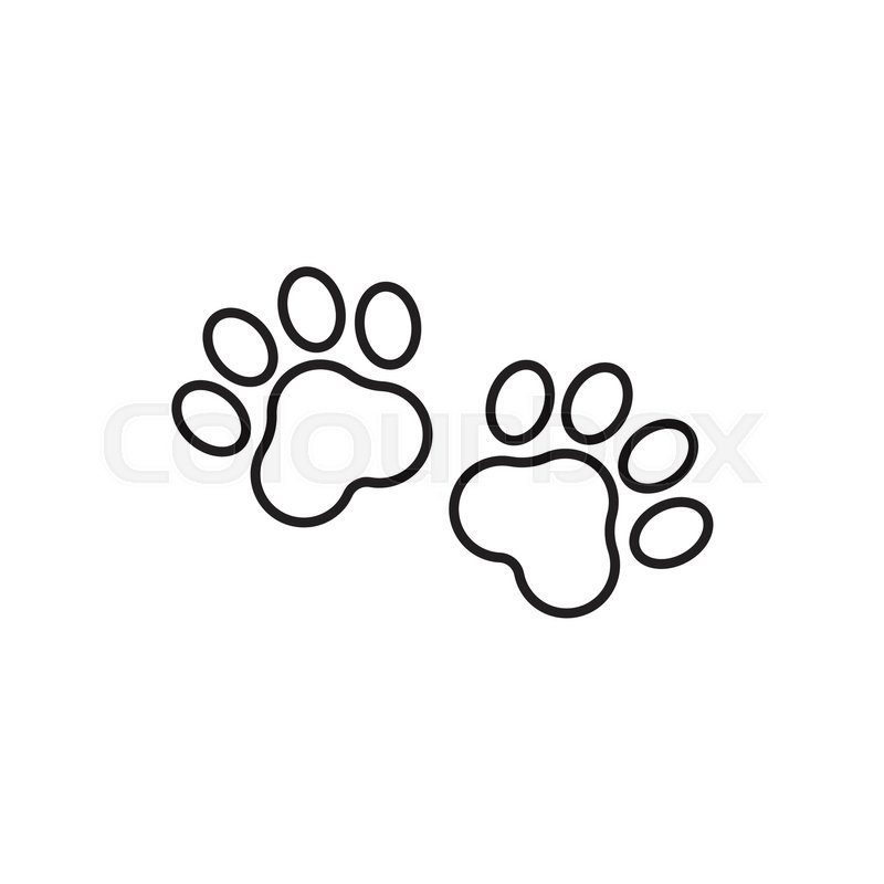 3394ebb6a4c8 Paw print vector icon in line style. ... | Stock vector | Colourbox