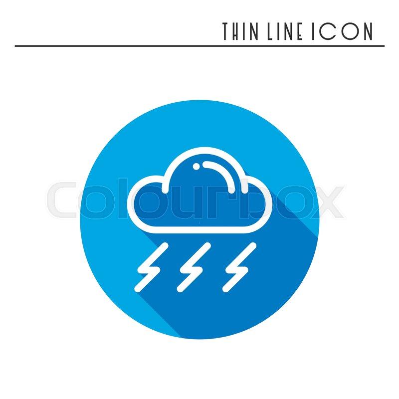 Cloud Sky Rain Storm Line Simple Icon Weather Symbols