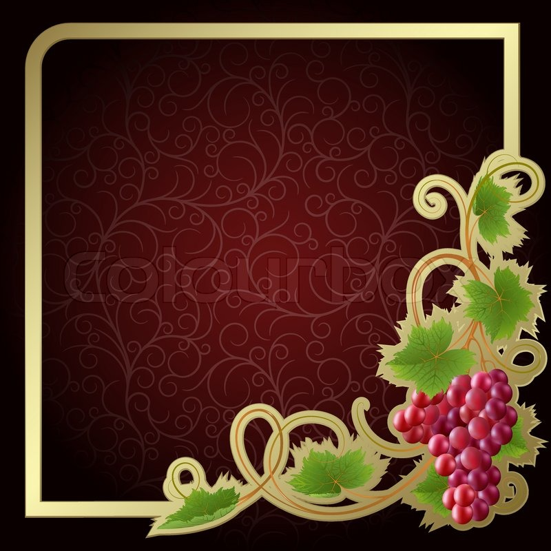 Vine 2 Release >> Claret background with gold frame and vine | Stock Vector | Colourbox