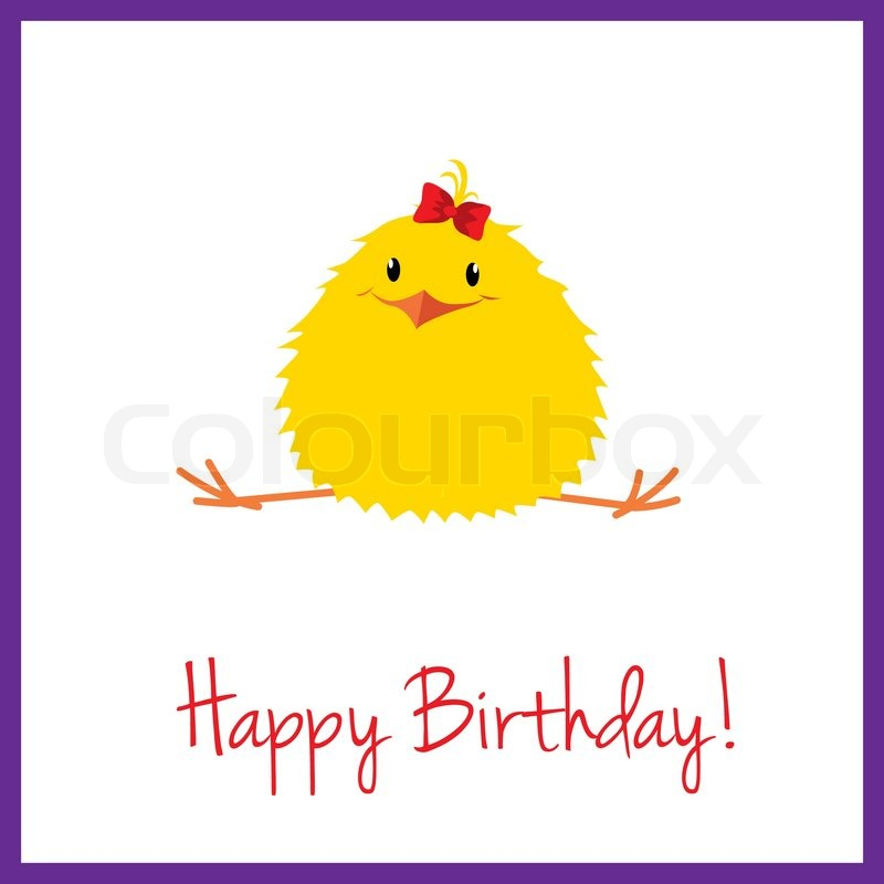 a cute birthday card with chick girl stock vector colourbox
