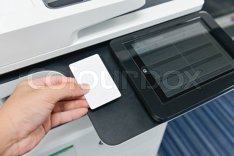Using smart card with printer to printing document, stock photo