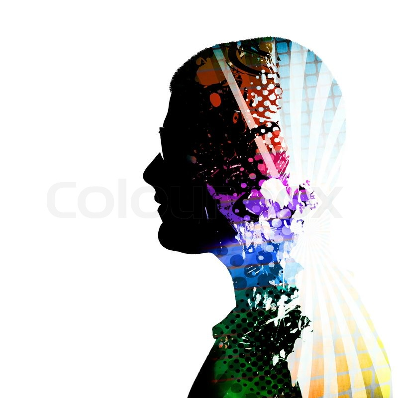 a creative montage of a side profile silhouette of a man think clipart melonheadz think clipart free