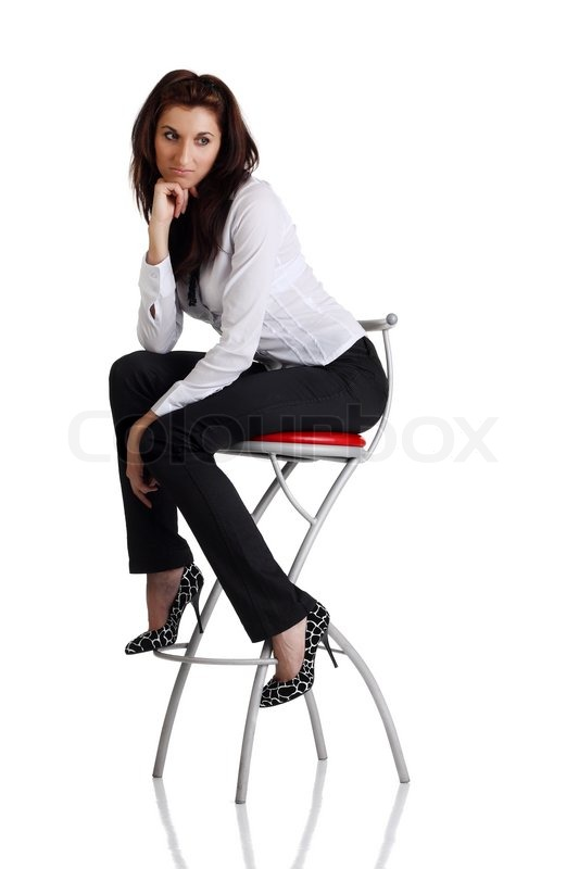 Girl Sitting On The Bar Chair At White Background Stock