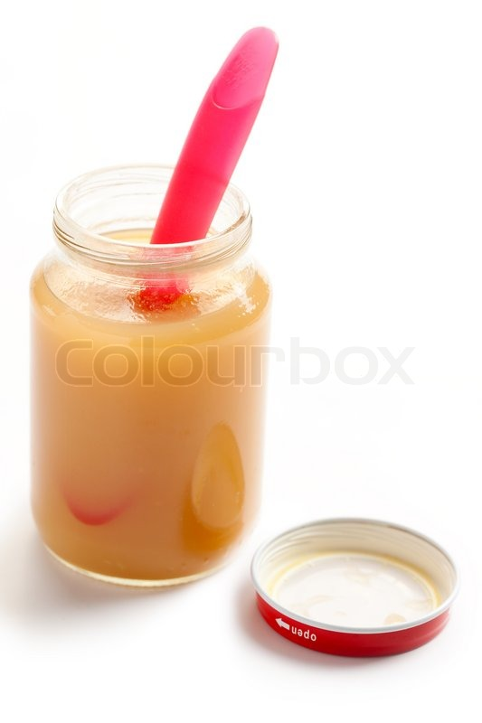 The glass jar of baby food, stock photo