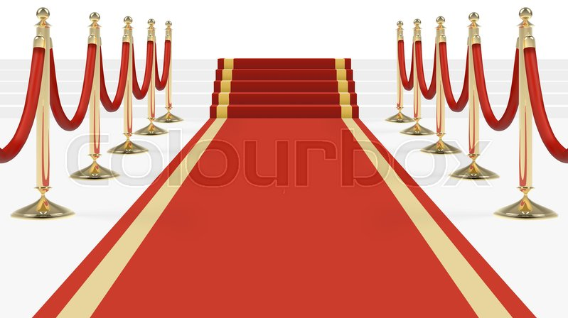 red carpet with stairs podium red ropes golden stanchions