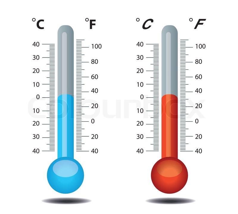 thermometer vector celsius fahrenheit stock vector colourbox