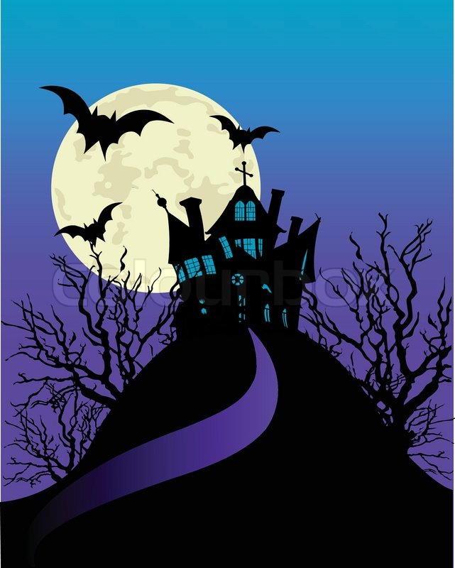 vertical halloween flyer with a haunted house stock vector colourbox