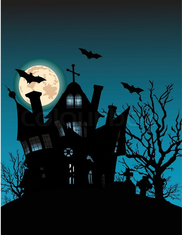 illustration of a spooky haunted ghost house on night Halloween Cat Clip Art Halloween Witch Clip Art
