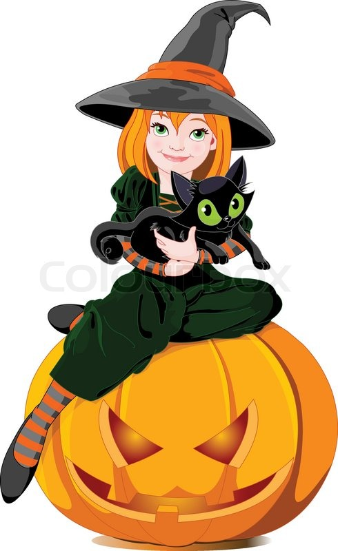 Halloween Witch Holds Cat Stock Vector Colourbox