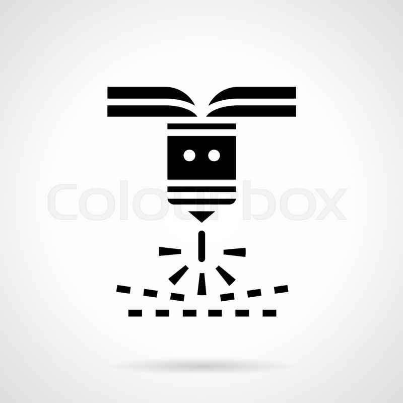 Abstract Monochrome Symbol Of Plasma Laser Industrial Machine For