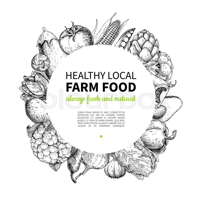 Vegetable hand drawn vintage vector frame illustration. Farm Market ...
