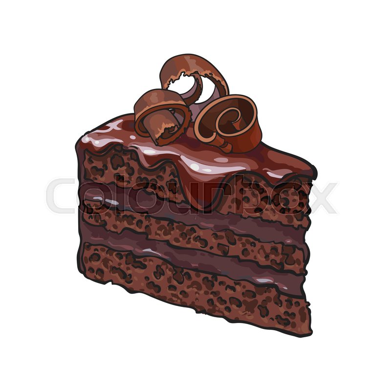 Hand Drawn Piece Of Layered Chocolate Cake With Icing And Shavings Sketch Style Vector Illustration Isolated On White Background Realistic Drawing