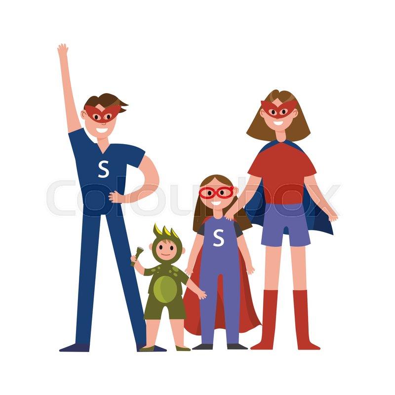 Family Of Superheroes Cartoon Stock Vector Colourbox