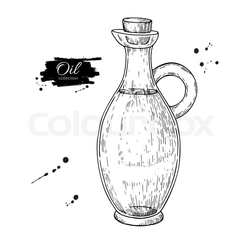 Oil Bottle Drawing Vector Glass Pitcher With Cork Stopper Hand Drawn Vintage Jug Illustration