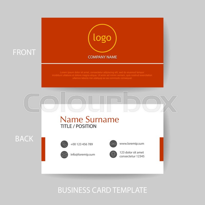 Vector modern and clean business card name card design template in vector modern and clean business card name card design template in red color tone stock vector colourbox reheart Images