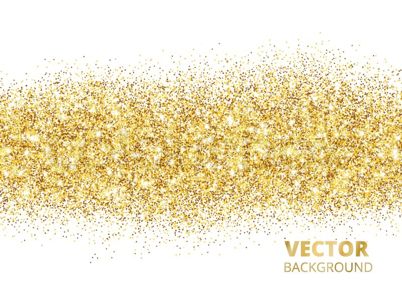 Sparkling Glitter Border Isolated On White Festive Background With Golden Dust Rectangle Of Confetti Great For Wedding Invitations