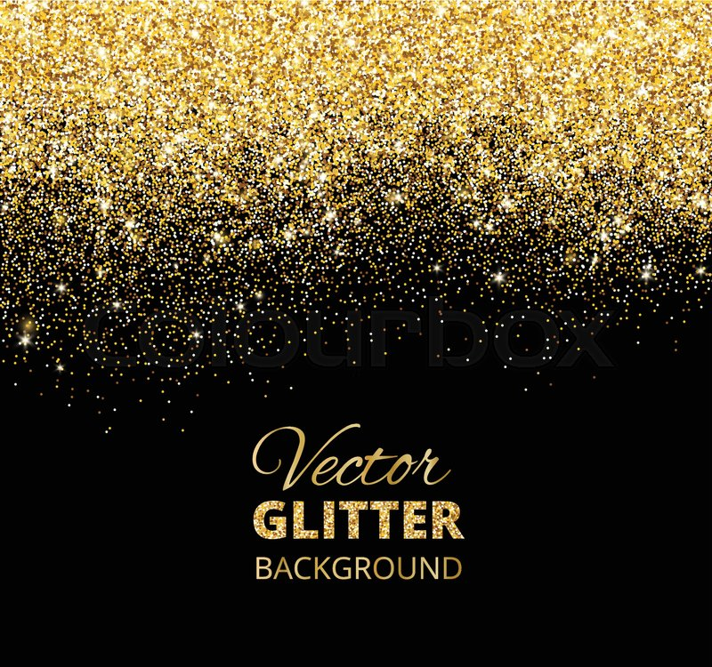 Festive black background with falling glitter confetti golden dust festive black background with falling glitter confetti golden dust sparkling glitter border vector frame great for wedding invitations party posters stopboris Images