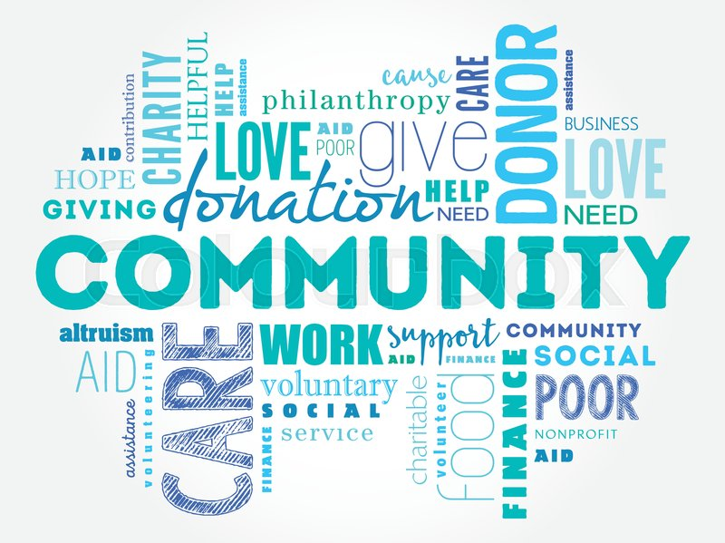 community word cloud collage social concept background stock