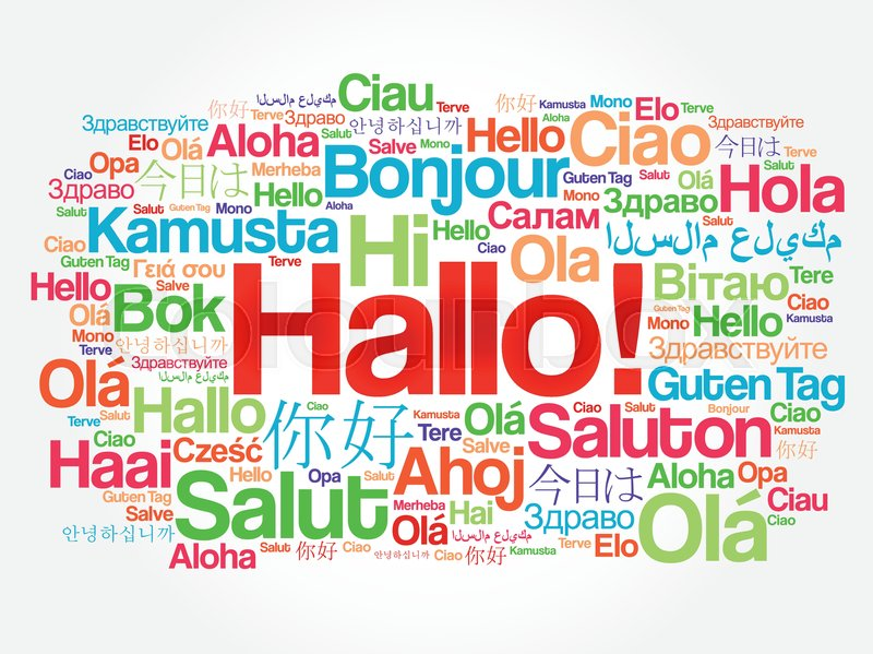 Hallo hello greeting in german word cloud in different languages hallo hello greeting in german word cloud in different languages of the world background concept stock vector colourbox m4hsunfo