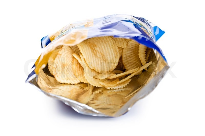 potato chips in bag on white background stock photo
