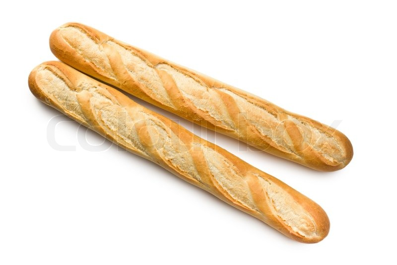 French Baguettes On White Background