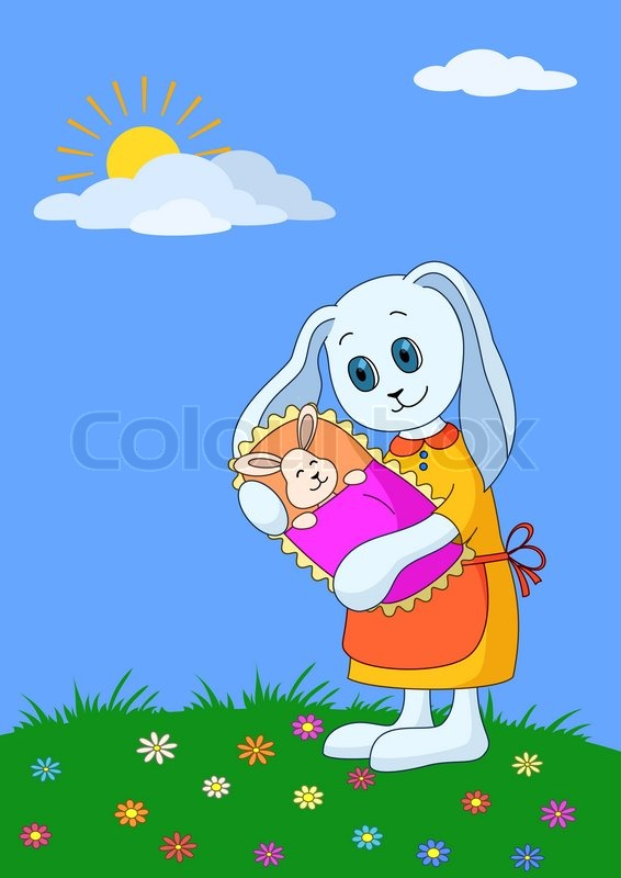 Cartoon Rabbit Mother With Baby In The Meadow Stock