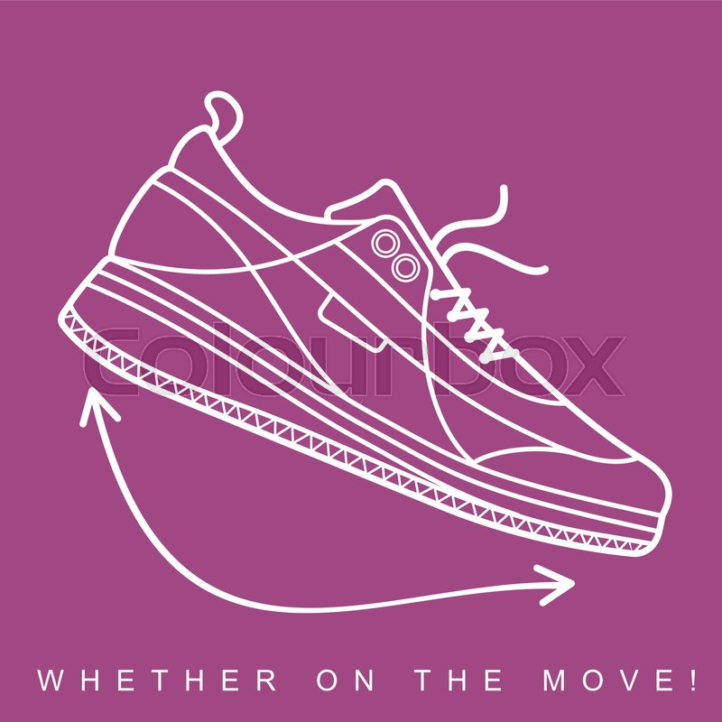 vector illustration of sneakers sports shoes in a line style