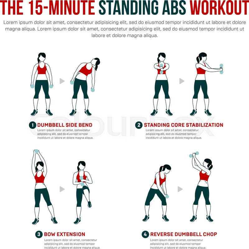 15 Minute Standing Abs Workout Fitness Aerobic And Exercise In Gym Vector Set Of Icons Flat Style Isolated On White Background