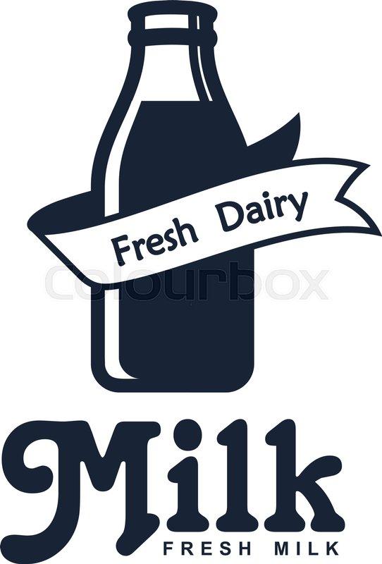 Milk Elegant Vector Logo Template Label Sticker Icon Symbol For