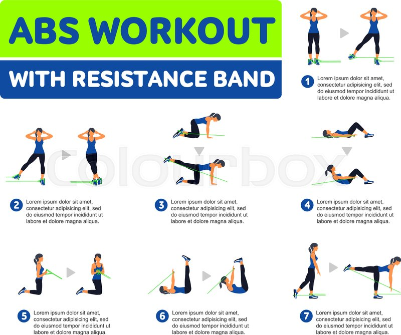 Abs Workout WITH RESISTANCE BAND Fitness Aerobic And Exercise In Gym Vector Set Of Icons Flat Style Isolated On White Background