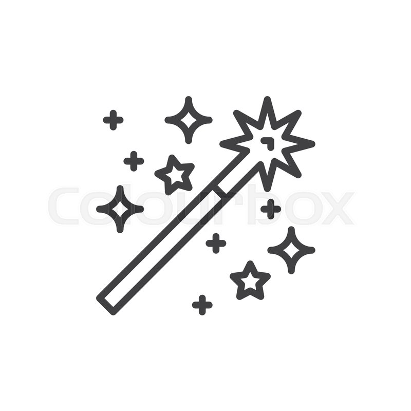 Magic Wand Line Icon Outline Vector Sign Linear Style Pictogram