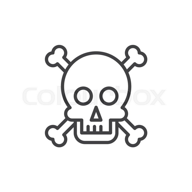 Skull And Bones Line Icon Outline Vector Sign Linear Style