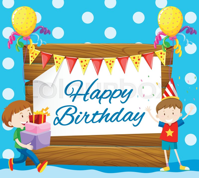 Happy Birthday Card With Two Boys Illustration Stock Vector