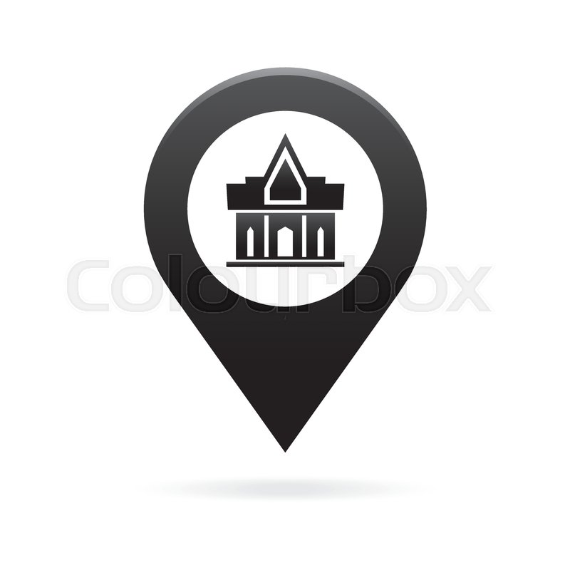 temple monastery map pointer icon marker gps location flag symbol