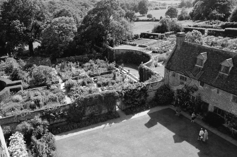 Wonderful view over the gardens and the estate Sissinghurst Castle in England in the summer in black and white, stock photo