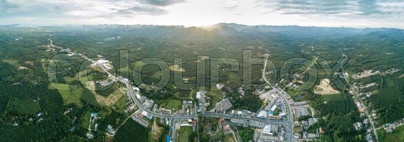 High angle view of Panorama Tubpud city in Phang Nga, Thailand, stock photo