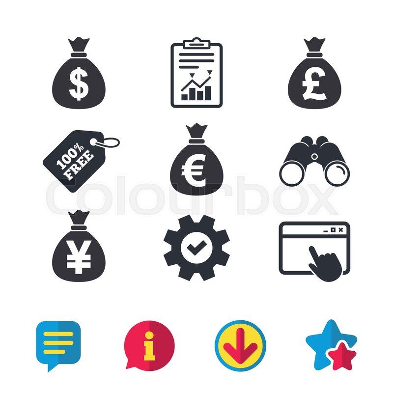 Money Bag Icons Dollar Euro Pound And Yen Symbols Usd Eur Gbp