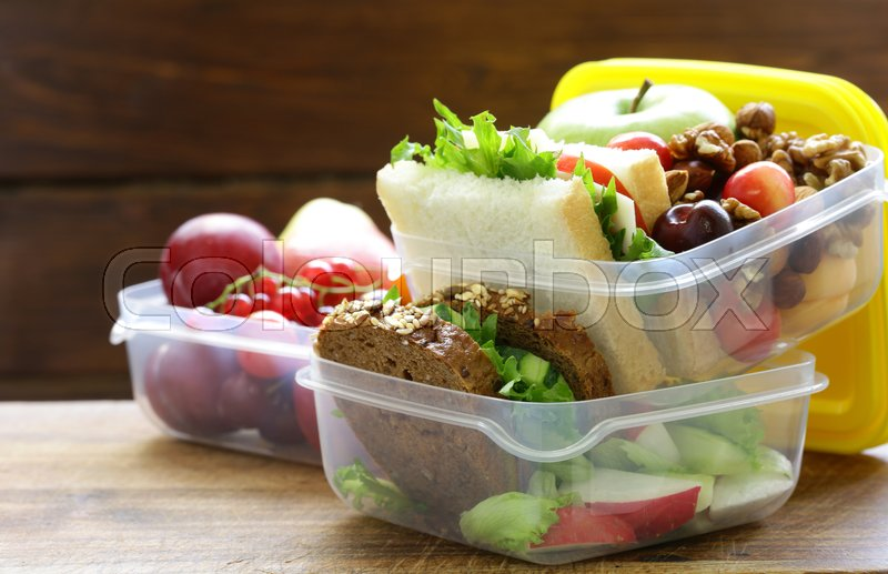 Lunch box for healthy eating at the office and school, stock photo