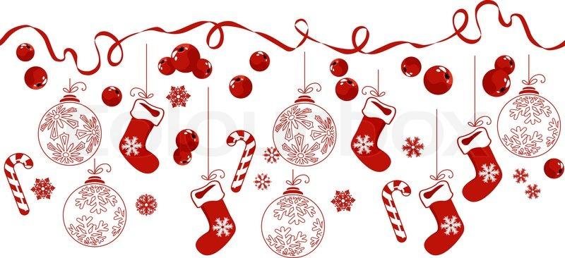 Horizontal Border With Traditional Christmas Symbols Stock Vector
