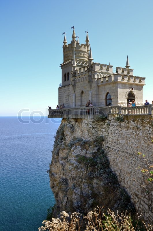 Old castle on rock over the sea  Stock Photo  Colourbox