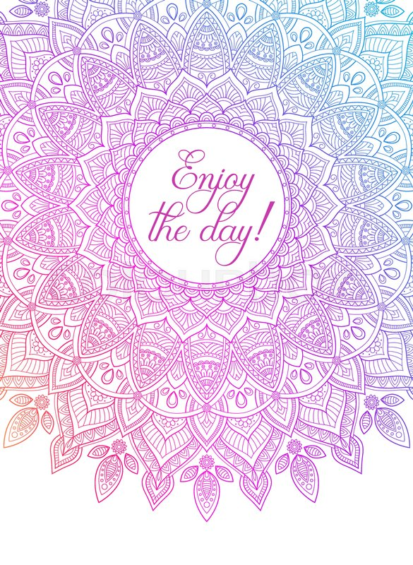 Vector Colorful Zentangle Mandala Banner Wish Congratulations Postcard Template For Printing Web Design Poster Flyer