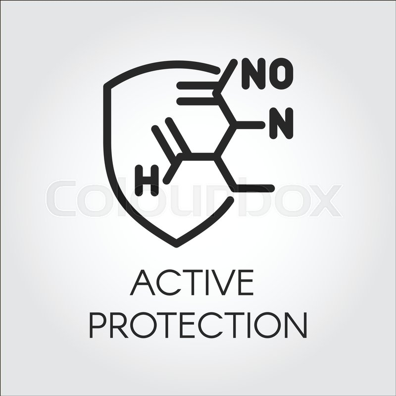 Chemical Formula Of Active Protection Icon In Line Style Conceptual