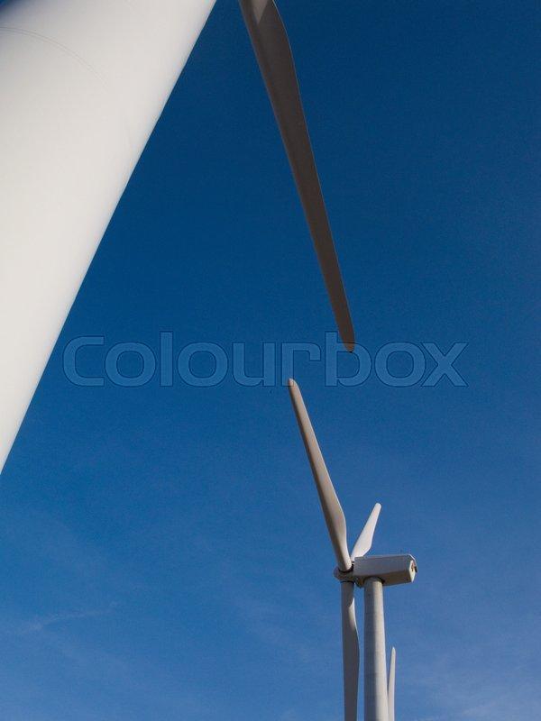 Wind turbines, low angle view, stock photo