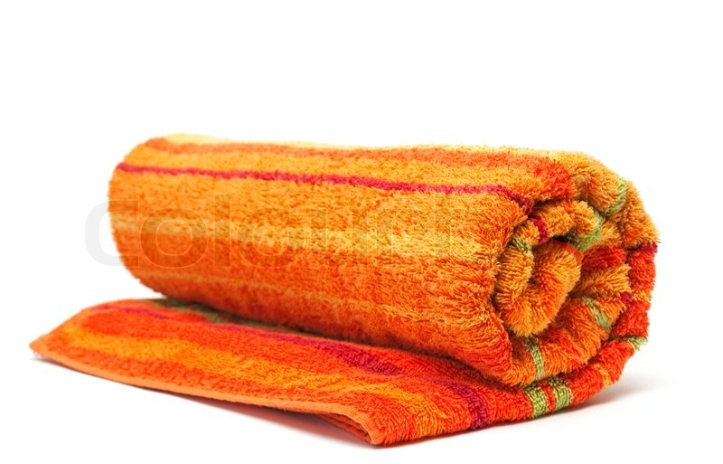 Towel rolled up on a white background | Stock Photo ...