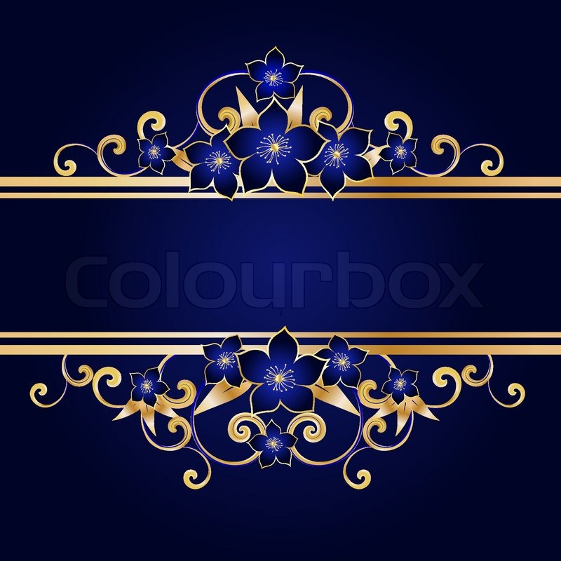 Golden Floral Frame With Flowers Stock Vector Colourbox