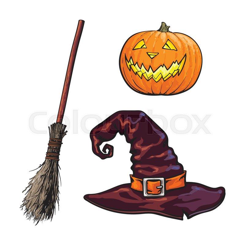 Hand drawn Halloween symbols - pumpking lantern, pointed hat and ...